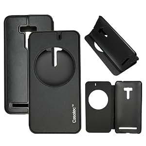 Casotec Premium Kickstand Caller-id Flip Case Cover for Asus Zenfone 2 Laser ZE550KL - Black