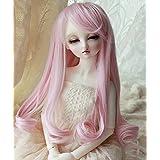 Linfairy 8-9 inch 1/3 BJD Wig Doll Hair SD DZ DD DOD LUTS Long Wig (pink)