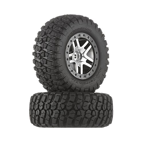 Traxxas 6873 BF Goodrich Mud Terrain T/A KM2 Tires Pre-Glued on Satin Chrome, Black Beadlock-Style Wheels (pair) (Rc Slash Tires compare prices)