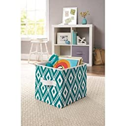 Collapsible Fabric Storage Cube, Set of 8 for Kids and Adults, Perfect for Toys and Small Items, in Teal Diamonds