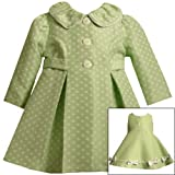 Bonnie Jean Baby/Infant Girls 12M-24M 2-Piece LIME-GREEN WHITE JACQUARD DOT Special Occasion Easter Party Dress/Coat Outfit Set