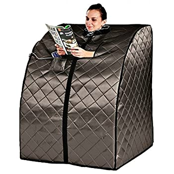 Sauna Portable Infrared FAR Carbon Fiber Panels - Wired Remote Control - Max Heat 150 Degrees - Heated Foot Pad - Negative Ion Generation - Rejuvenator Model SA6310-bw