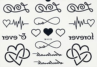 SPESTYLE waterproof non toxic long last temporary tattoos stickers different heart design with word forever