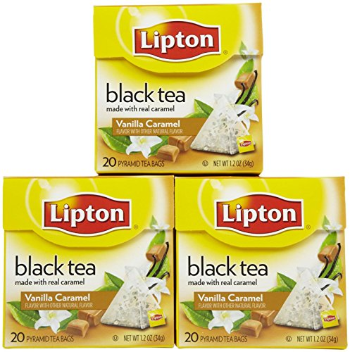 Lipton Pyramid Black Tea Bags, Vanilla Caramel, 20 Ct, 3 Pk