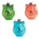 Ian Snow Glass Owl Decoration, Set of 3, Multi-Color