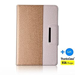 Thankscase Samsung Galaxy Tab S 10.5 Rotating Case with a Bonus Screen Protector,Cover with Hand Strap with Smart Cover Function,slim Lightweight Wallet Case for Samsung Galaxy Tab S 10.5 . (Gold)