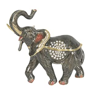 """Trumpeting Elephant"" Handcrafted Bejeweled Pewter Trinket Box Hand Enameled with Swarovski Crystals and Matching Pendant"