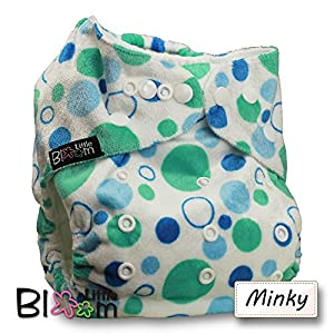 LittleBloom, Reusable Pocket Cloth Nappy, Fastener: Popper, Set of 1, Pattern 42, Without Insert, Blue And Green Rings(Minky)