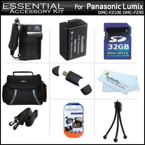 32GB Accessory Kit For Panasonic Lumix DMC-FZ70, DMC-FZ70K, DMC-FZ60 DMC-FZ100 DMC-FZ40 DMC-FZ47 DMC-FZ150 DMC-FZ150K Digital Camera Includes 32GB High Speed SD Memory Card + Extended (1200Mah) Replacement DMW-BMB9 Battery + Ac/Dc Charger + Case + More