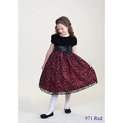 Crayon Kids Big Girls Red Flower Sash Christmas Dress 9/10 front-1062201