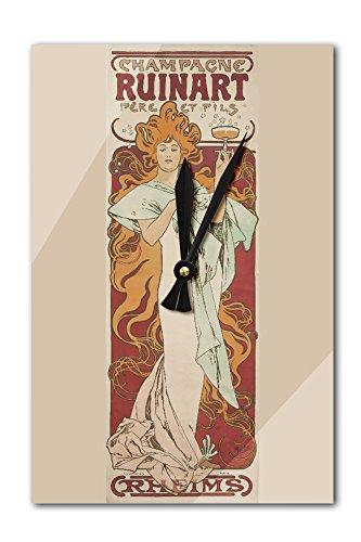 champagne-ruinart-vintage-poster-artist-mucha-alphonse-france-c-1896-acrylic-wall-clock