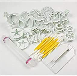 Rbenxia Cake Mould Baking Mold Fondant Cake Sugarcraft Decorating Kit Cookie Mould Icing Plunger Cutter Tool(style 4: 14 sets (46pcs))
