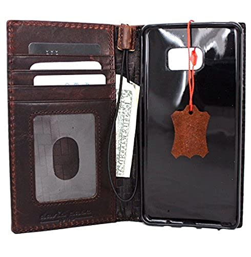 09. Genuine Oiled Leather Case for Samsung Galaxy Note 7 Book Wallet Handmade Retro Style Luxury Daviscase JP N930F N930A N930P N930T N930R4 N930V RFID Pay