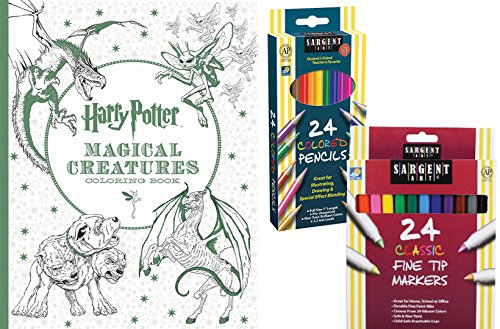 Harry Potter Magical Creatures Coloring Book Sargent Art 24 Colored