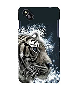 printtech White Tiger Face Back Case Cover for MicromaxBolt D303