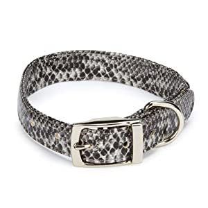 East Side Collection Polyester/Polyurethane West End Dog Collar, 11 to Inch, Silver Python