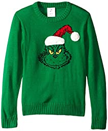 Hybrid Little Boys\' Santa Grinch Sweater with Fur, Kelly Green, Small