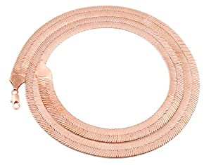 JOTW Rose Goldtone 11mm 30 Inch Herringbone Chain Necklace