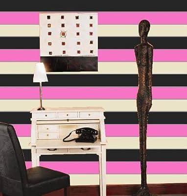 Olivia Ii Pink Cream And Black Striped Wallpaper