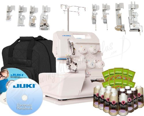 Juki Pearl Line MO-654DE 2/3/4 Thread Serger with BONUS I WANT IT ALL PACKAGE! Includes: 8 Piece Foot Kit, Serger Tote, 12 Thread Cones, 100 Needles, Electronic Workbook, Instructional DVD!