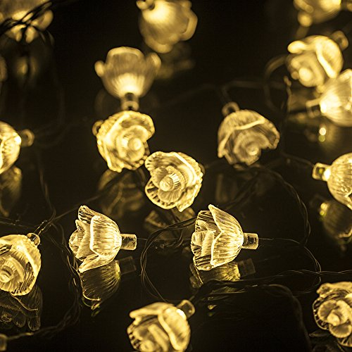 M&T Tech Warm White String Lights Solar Powered 30 Led Rose Flower Fairy Lights For Outdoor Garden Patio Lawn Christmas Party Fence Window