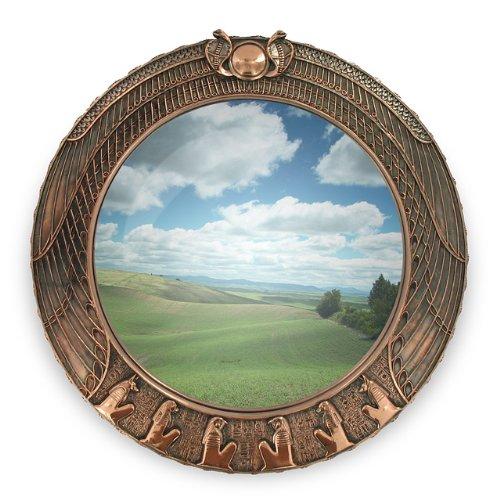 grand-miroir-rond-decoration-egyptienne-peinture-metallisee