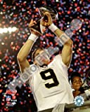 Drew Brees - Super Bowl XLIV Lombardi Trophy - New Orleans Saints NFL 8x10 Photo
