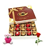 Cheerful Surprise To Your Friend With Teddy And Rose - Chocholik Luxury Chocolates