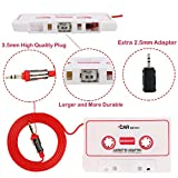 BESDATA Car Cassette Adapters for iPod, iPad, iPhone, MP3, Mobil Device, 3 Feet Long Cable with 3.5mm Male and 2.5mm Male Adapter, White - KD101