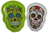 Sugar Skulls Halloween Day of the Dead Dia De Los Muertos Calavera Party, 2 Serving Trays: Green & White