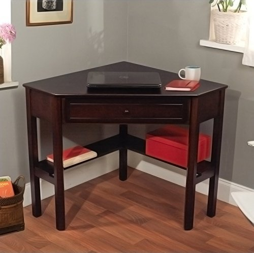 Espresso Student Home Office Computer Laptop Corner Writing Desk (Corner Computer Desk Espresso compare prices)
