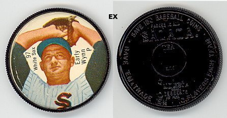 1962 Salada Tea Coins (Baseball) Card# 97 Early Wynn (Pitching Pose) (180 Back) Of The Chicago White Sox Ex Condition