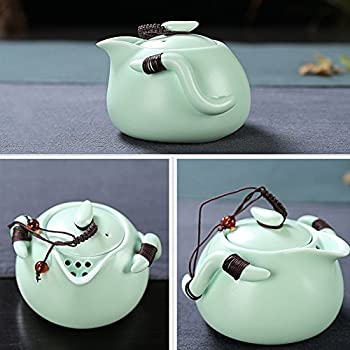XDOBO Imported Vintage Chinese & Japanese Style Porcelain Handmade Kung Fu Tea Set, 10-pack (Green)