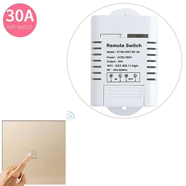 110V 30A 3300 Watts Wifi Relay for Light Switch and Water Heater Timer and Pump Control - Support Manual and Remote Control - Touch Panel Transmitter Paired Well(Gold) (Color: Gold)