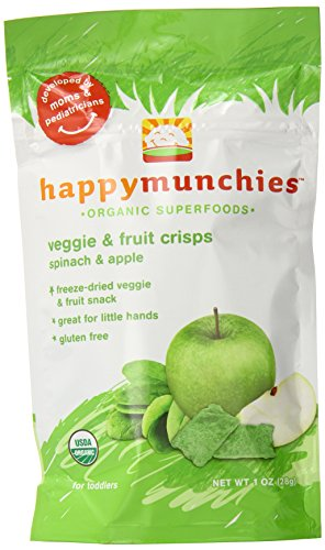 Happy Munchies Organic Veggie & Fruit Crisps, Spinach & Apple, 1 Oz (Pack Of 8)