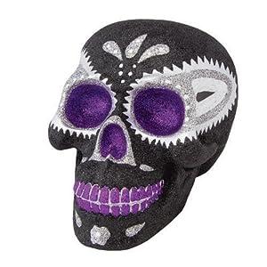 RADKO DAY OF THE DEAD SKULL Glittered Black and Purple Figurine Halloween NEW