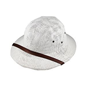 New Straw PITH Helmet - Safari Style Adult Hat - White