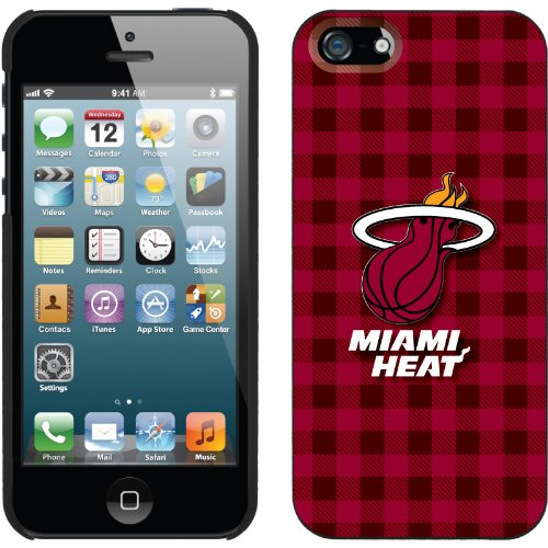 Great Price Miami Heat - Plaid Print design on a Black iPhone 5 Thinshield Snap-On Case by Coveroo