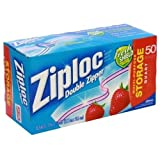 Ziploc Double Zipper All-Purpose Storage Quart Value Pack Bags - 50 CT(2Pack)
