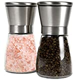 Brushed Stainless Steel Salt Mill and Pepper Grinder Set With...