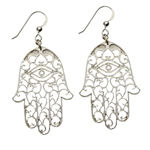 Small Hamsa Silver Dipped Earrings on French Hooks