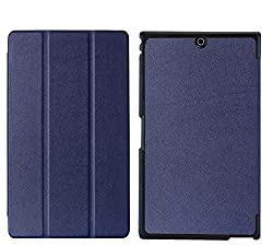 SPL Premium Quality PU Leather trifold Book Stand Cover for Sony Xperia Z3 Compact Tablet 8-inch -Dark Blue