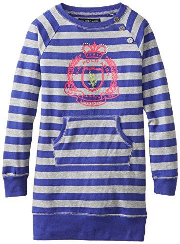 Us Polo Association Big Girls' Striped French Terry Sweatshirt Dress, International Blue, 8/10