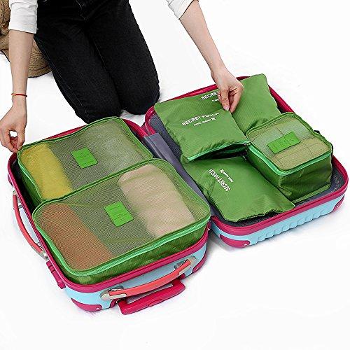 1dd543e931 【福美康】 トラベル ポーチ 6点 セット パッキング キューブ オーガナイザー 旅行 出張 整理整頓 アレンジケース スーツケース インナー バッグ  パック (グリーン)