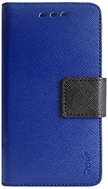 buy Reiko Premium Wallet Case With Stand, Flip Cover And 3 Card Holders For Sharp Aquos Crystal 306Sh - Retail Packaging - Navy
