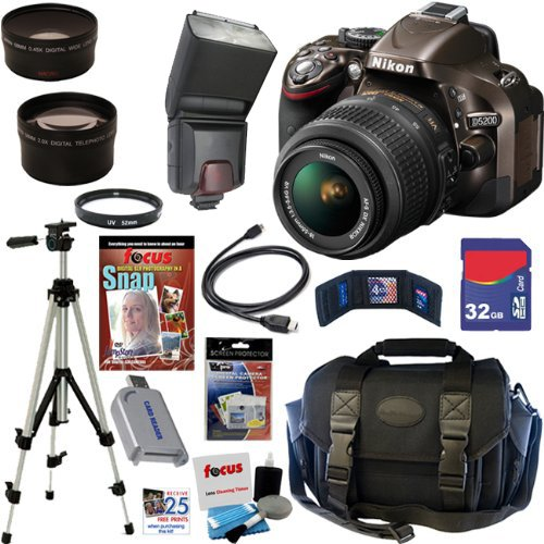 Nikon D5200 24.1 Mp Cmos Digital Slr Camera (Bronze) With 18-55Mm F/3.5-5.6 Af-S Dx Vr Nikkor Zoom Lens + Automatic Ttl Flash + Telephoto & Wide Angle Lenses + 10Pc Bundle 32Gb Deluxe Accessory Kit