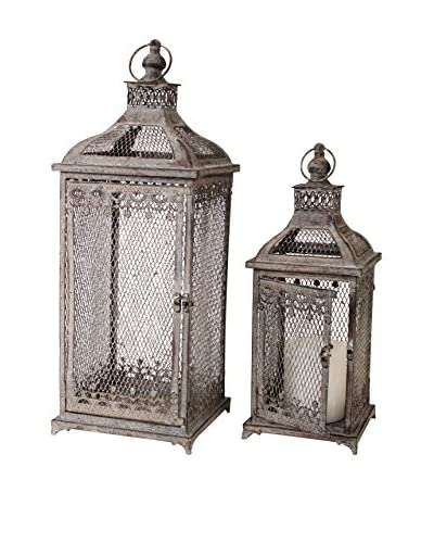 Melrose Set of 2 Mesh Iron Lanterns, Grey