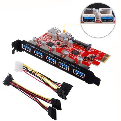 7-ports-PCI-EInateck-carte-contrleur-USB-30-Expansion-Interface-USB-30-5-Port-et-2-arrire-USB30-Ports-ordinateur-de-bureau-avec-Connecteur-15-broches-dalimentation-SATA-Inclure-avec-un-4-broches-2x15p