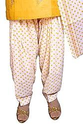 Jehal women's cotton Patiala salwar with zari border dupatta (yellow_Free size)
