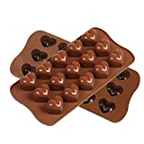Candy Mold, Smaier Silicone mold Chocolate Molds Candy Making Molds - Ice Cube DIY Baking Molds - Heart Shaped Jelly Pan 15-Cavity (set of 2)
